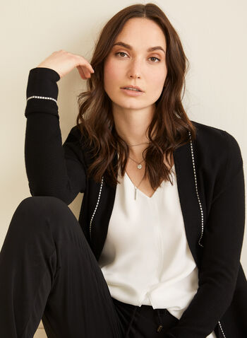 Open Front Knit Cardigan, Black,  cardigan, knit, long sleeves, contrast stitching, open front, spring 2020