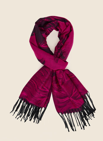 Floral Jacquard Reversible Scarf, Pink,  scarf, jacquard, reversible, floral, fringe, fall winter 2020