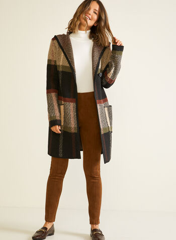 Hooded Plaid Cardigan , Green,  fall winter 2020, cardigan, hood, hooded, plaid, print, patch pockets, comfort, weekend, winter