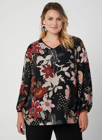 Floral Print Balloon Sleeve Blouse, Black, hi-res,  fall 2019, winter 2019, blouse, flora print, long sleeves, chiffon, fall 2019, winter 2019