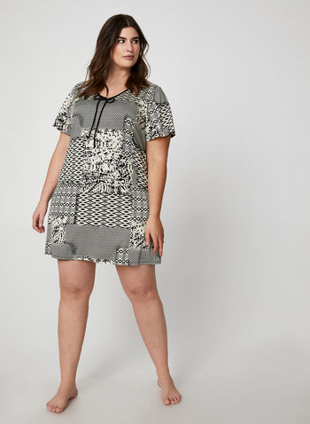 Hamilton - Geometric Print Nightgown, Black,  canada, nightgown, sleepwear, nightwear, pyjama, geometric print, print, fall 2019, winter 2019