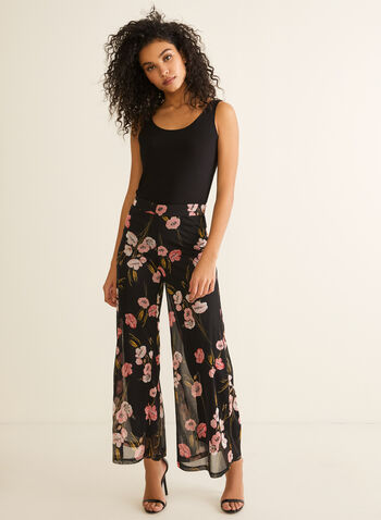 Pantalon pull-on en maille filet fleurie, Noir,  pantalon, jambe large, pull-on, fleurs, maille filet, printemps été 2020