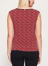 Geometric Textured Chiffon Detail Top, Red, hi-res