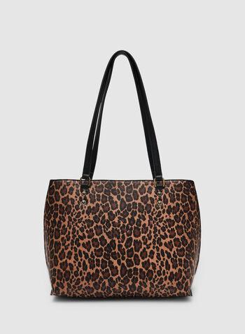 Sac fourre-tout motif léopard, Noir, hi-res,  sac fourre-tout, léopard, rivets, automne hiver 2019