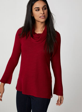 Cowl Neck Sweater, Red, hi-res,  sweater, long sleeves, cowl neck, fall winter 2019, knit