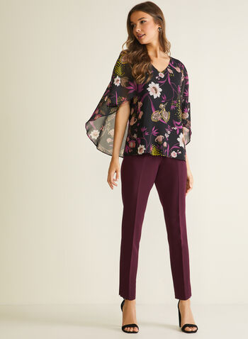 Floral Print Cape Style Blouse, Black,  blouse, floral, elbow sleeves, cape, chiffon, spring summer 2020
