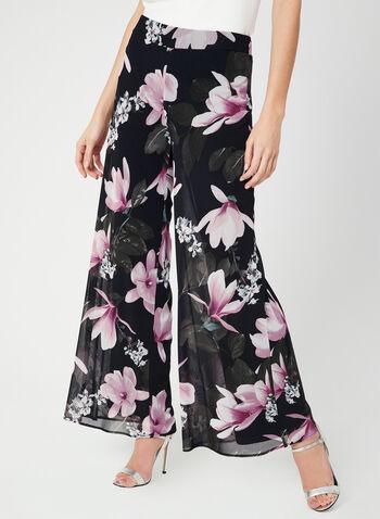 Modern Fit Floral Print Pants, Blue, hi-res,  Canada, floral print, wide leg, elastic waist, pull-on, mesh, spring 2019