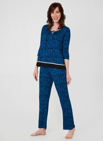 René Rofé - Two-Piece Pyjama Set, Blue,  René Rofé, pyjama, paisley, fall 2019, winter 2019