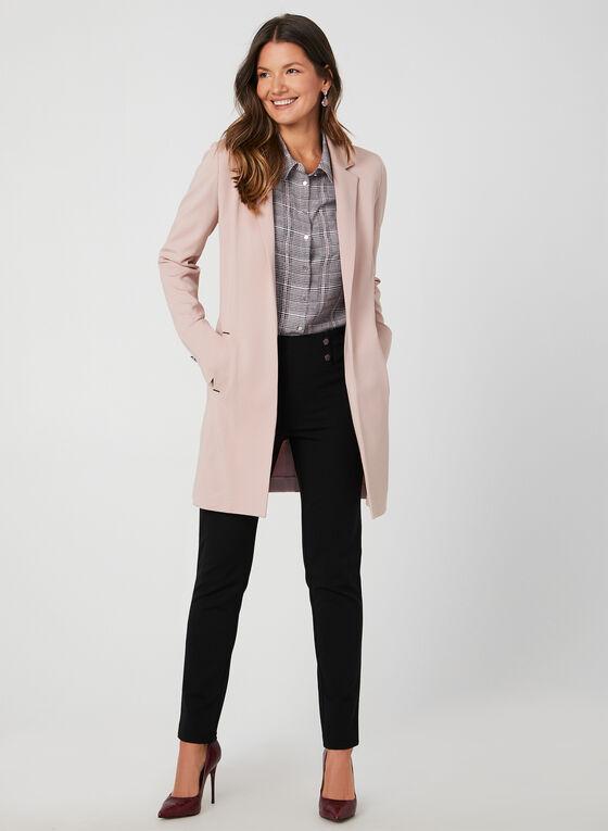 Long Notched Lapel Collar Blazer, Purple, hi-res