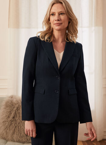 Two Button Notch Collar Jacket, Blue,  jacket, blazer, two-button, 2 button, made in Canada, notch collar, notched, shoulder pads, long sleeves, button detail, pocket, lined, spring summer 2021, blazer