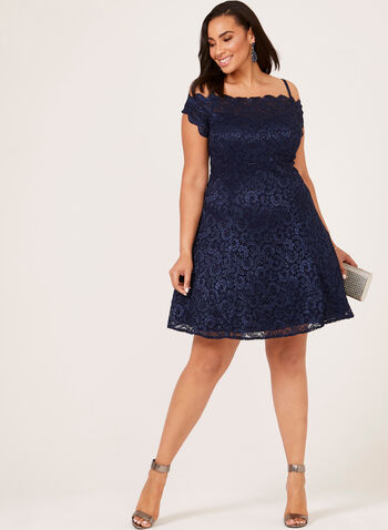 Lace Fit & Flare Off The Shoulder Dress, Blue, hi-res