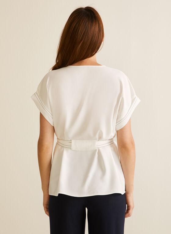 Kimono Sleeve Belted Blouse, Off White