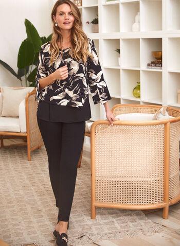 Floral Print Slit Sleeve Blouse, Black,  blouse, floral, slit sleeves, asymmetric, fall winter 2020