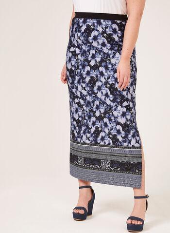 Jupe maxi pull-on à motif floral, Bleu, hi-res