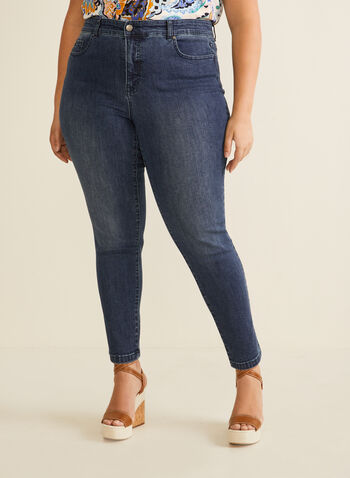 Slim Leg Ankle Jeans, Blue,  jeans, slim leg, ankle, cotton, stretchy, pockets, high rise, spring summer 2020