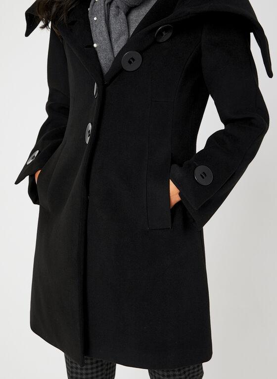 Envelope Collar Coat, Black
