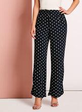 Wide Leg Dot Print Pants, Blue, hi-res