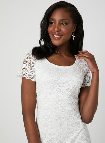 Floral Lace Midi Dress, White, hi-res