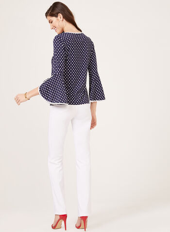 Dot Print Bell Sleeve Top, Blue, hi-res