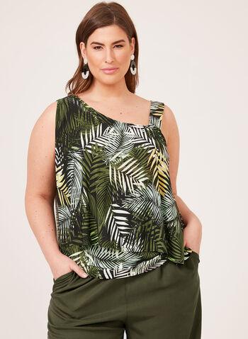 Tropical Print One-Shoulder Top, Green, hi-res