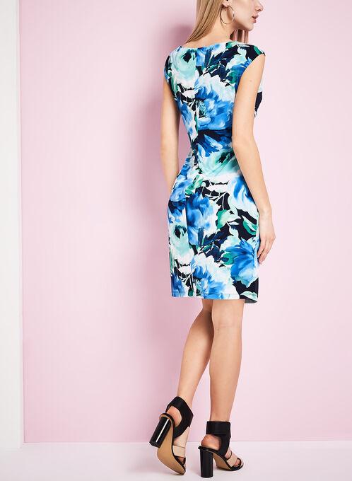 Jersey Floral Print Ruched Dress, Blue, hi-res