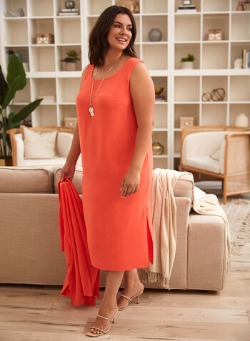 Maxi Dress & Blouse, Orange,  spring summer 2021, sets, 2 piece, tops, button down, button up, dresses, crew neck, boat neck, scoop neck, straight cut, textured,