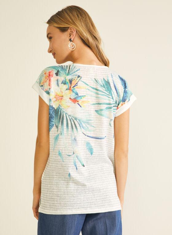 T-shirt rayé et tropical , Blanc