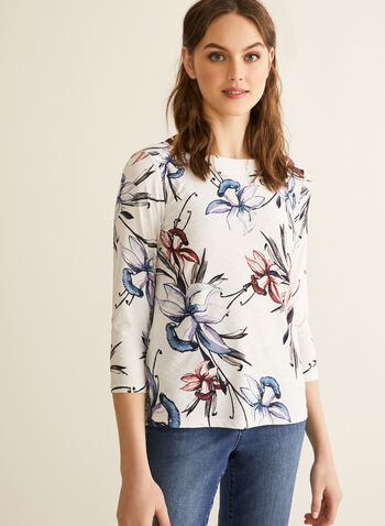 Floral Print Jersey Top, White,  spring summer 2020, 3/4 sleeves, jacquard fabric, floral print, Made in Canada, boat neck
