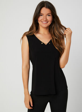 Sleeveless Jersey Top, Black,  jersey, chain detail, v-neck, fall 2019, winter 2019