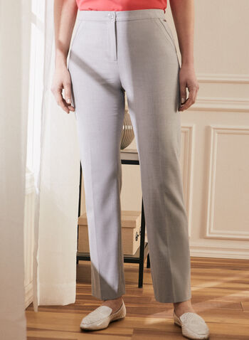 Signature Straight Leg Pants, Grey,  pants, signature pants, straight leg, straight leg pants, high rise pants, comfortable pants, spring summer 2021
