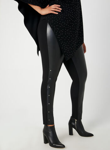 Faux Leather Leggings, Black,