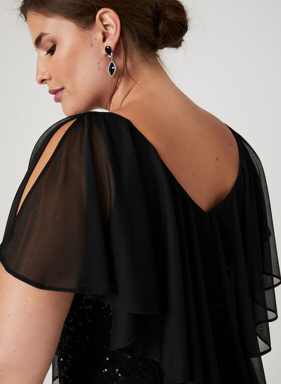 Robe poncho en dentelle pailletée, Noir
