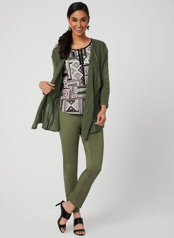 T-shirt à imprimé aztèque, Vert, hi-res,  manches courtes, détail zippé, contraste, printemps 2019