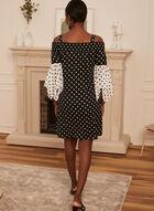 Polka Dot Off Shoulder Dress, Black