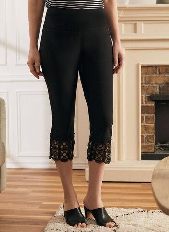 Crochet Detail Capri Pants, Black,  pants, capri, pull-on, slim leg, crochet, stretchy, bengaline, spring summer 2020