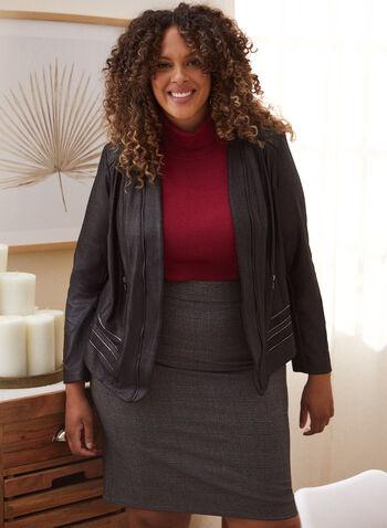 Veste aspect cuir à détails métallisés, Noir,  automne hiver 2020, veste, cuir, manches longues, glissière, zip, poches