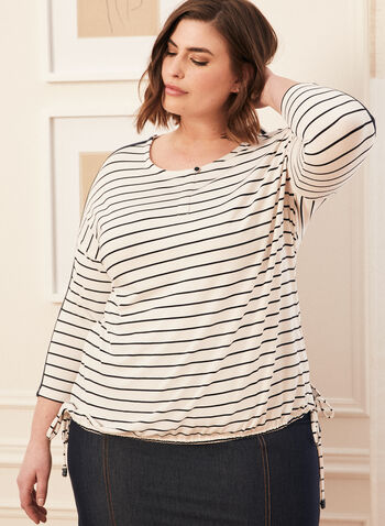 Stripe Print 3/4 Sleeve Top, White,  spring summer 2020, 3/4 sleeves, stripe print, drawstring