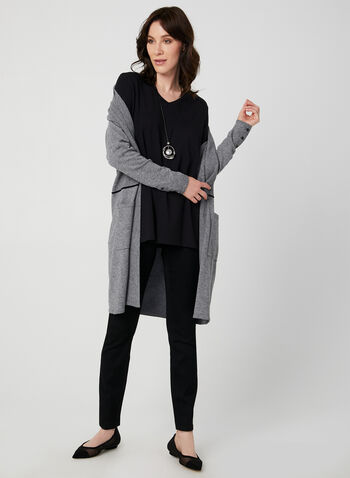 ¾ Sleeve Top, Black, hi-res,  v-neck, side slits, ¾ sleeves, 3/4 sleeves, fall 2019, winter 2019