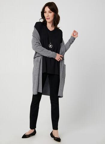 T-shirt basique à manches ¾, Noir,  t-shirt, basique, col V, manches 3/4, automne hiver 2019