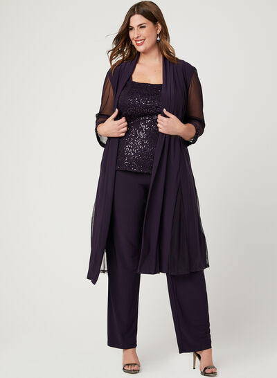 Three Piece Sequin Lace Pantsuit