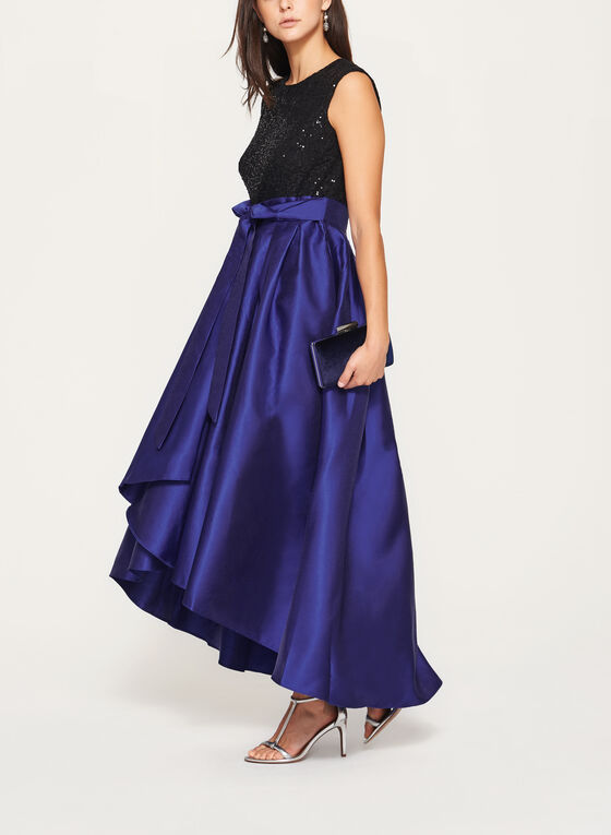 Sequin Lace Taffeta Gown, Multi, hi-res