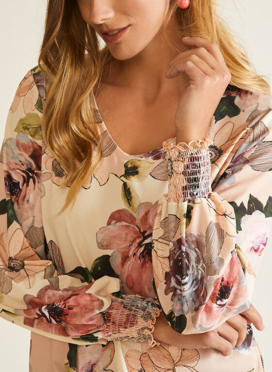 Floral Print Balloon Sleeve Top, Multi