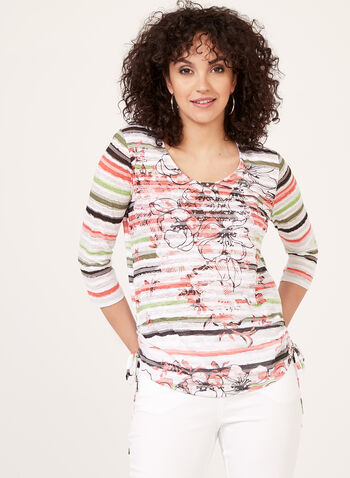 ¾ Sleeve Floral & Stripe Print Top, Green, hi-res