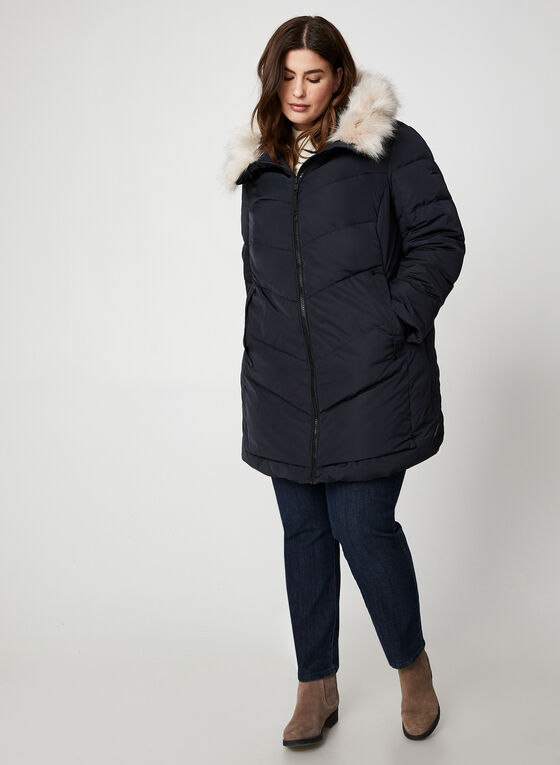 Novelti - Faux Fur Down Coat, Blue