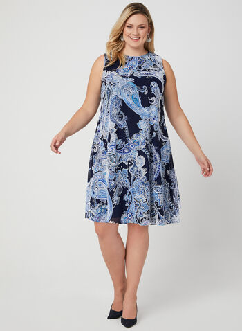 Jessica Howard - Paisley Print Chiffon Dress, Blue, hi-res,  sleeveless, textured, puff print, spring 2019