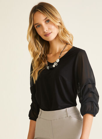 Gathered Chiffon Sleeve Top, Black,  top, 3/4 sleeves, gathered, chiffon, spring summer 2020
