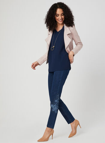 ¾ Sleeve Crepe Top, Blue, hi-res