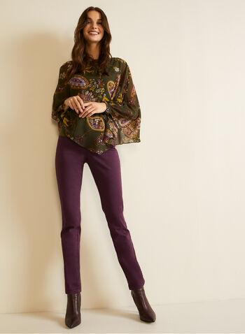 Paisley Print Blouse, Green,  fall winter 2020, blouse, top, round neck, cape style, chiffon, long sleeves, paisley print
