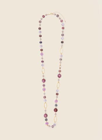 Collier à billes et pierres , Violet,  bijoux, collier, pierres, billes, métallique, doré, maillons, ovales, printemps été 2021,