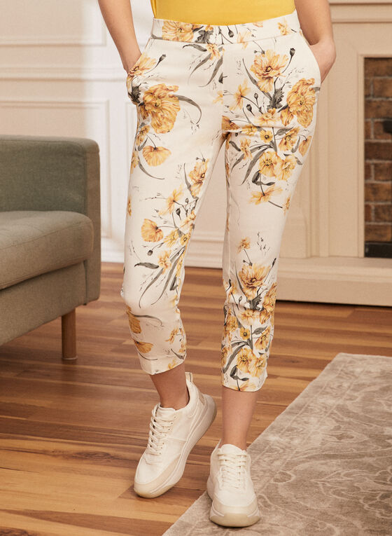 Floral Print Pull-On Capris, Yellow